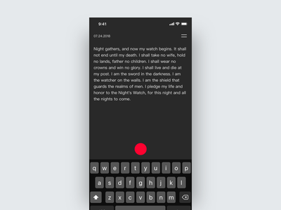 Note App Concept text editor simple app dark minimal ui notes