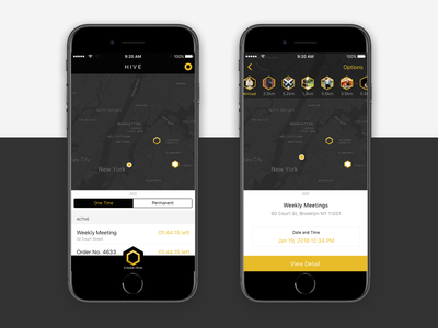 Hive Redesign Draft meeting hexagon location clean ui interface app