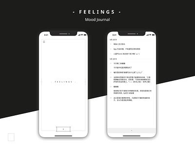 Feelings - Mood Journal App feeling mood journal minimalism minimal clean ios ui interface app mobile