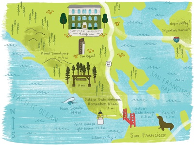 Dominican University of California Map golden gate bridge bay area san francisco photoshop textures photoshop handlettering california illustrated map map campus map