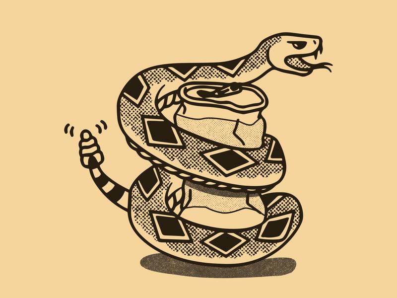 Huck & Chug Rattlesnake vector illustration vector art illustration beer can halftones western diamond back rattlesnake