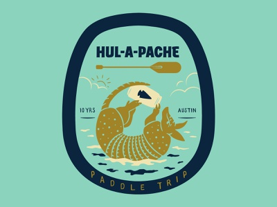 Hul-A-Pache PaddleTrip badge design badge sticker design paddle beer can austin texas austin armadillo illustrator illustration vector
