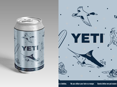 YETI Standard Faux Can Art beer can yeti vector illustration