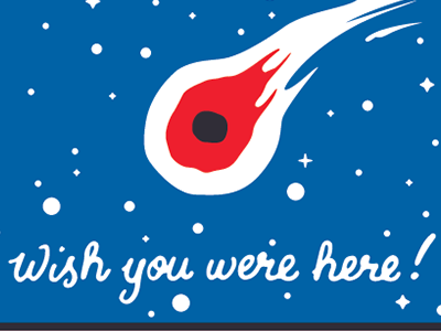 Mars : Wish you were here! handlettering greeting card