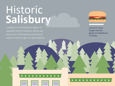 Historic Salisbury trees burger illustration vector