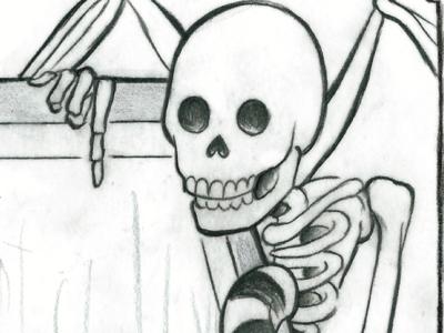 Skeleton Man illustration graphite beetlejuice demon skeleton