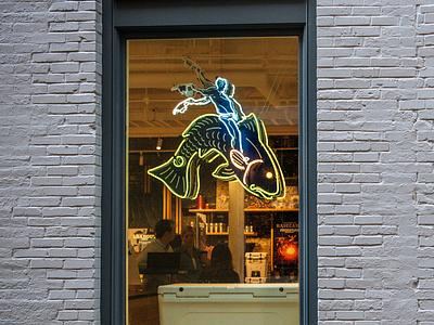 YETI Charleston Redfish Rider logo yeti redfish neon sign