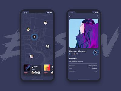 Social Application Visual Test profile map visual social app social design ui ux