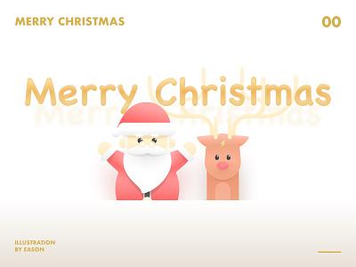 Merry Christmas cute santa claus deer christmas merrychristmas