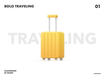 Bolo Traveling travel suitcase bag orange design bolo illustration daily