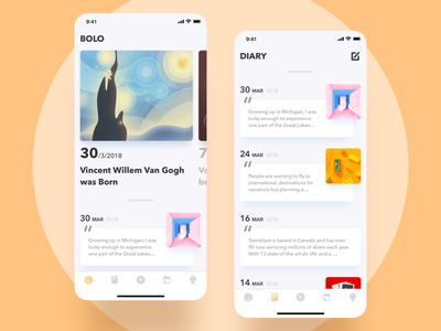 """""""Bolo"""" Diary UI uidesign mobile iphone date daily diary list card app interface illustration ux ui"""
