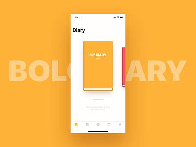 Bolo diary application UX brand design edit menu list paper book motion interactive interaction app ui ux bolo daily