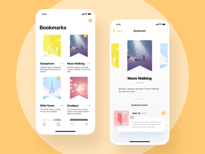 Bolo Diary - Bookmarks bookmarks history list components favorite tag bookmark app branding ui ux bolo