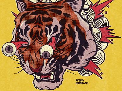 Boom!! illustration paper mold texture tshirt poster comics psychedelic lowbrow vintage retro monster beast tiger art drawing ink illustrator