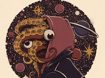Tourist monsters retro vintage sci fi sci-fi scifi drawing startup moleskine sketchbook universe star planet octopus creature terror horror illustration monster