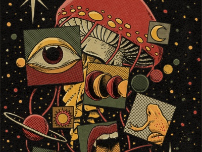 Intergalactic trip retro vintage planets drugs lsd galaxy space toad frog eye mushroom psychedelicart psychedelic art drawing ink illustration