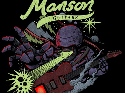 Manson Guitars: MURPH android robot gig rock and roll rock t-shirt tshirt planets vintage retro space cosmos guitar muse music