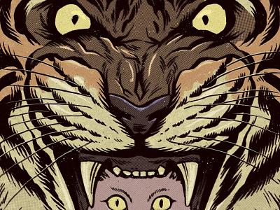 Hello! inktober screen tones beast savage animal sketchbook retro vintage kitten tiger cat art drawing ink