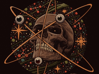 Atomic sj textures sketchbook psychedelic comics vintage retro sci fi sci-fi scifi space atomic atom art skulls drawing illustration skull