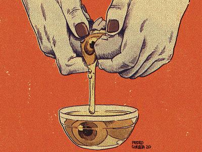 Cooking eggs horror terror sketches sketchbook surrealism surreal recipe hands retro vintage illustration egg