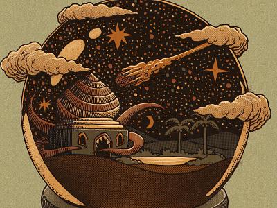 1001 nights monster crystal ball globe vintage retro surrealism surreal comet sahara desert art drawing ink illustrations