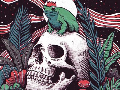 King moleskine sketchbook comic woods forests mushroom comics retro vintage skull art drawing illustration frog king
