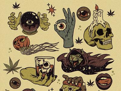 Halloween stickers for High Times Magazine vintage retro magazine skull sticker pumpkin terror monster halloween hemp cannabis illustration