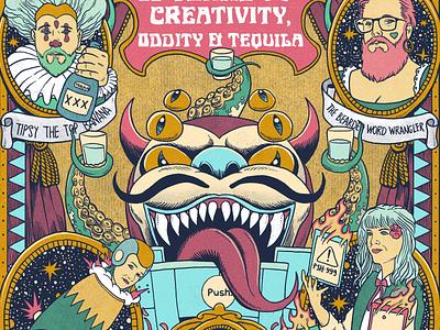 Freaks & Feats art drawing ink illustration cannon juggler octopus freak show freak devil clown poster circus