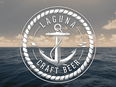 Brewery Logo old school ocean sea vintage anchor dolphin fish laguna beer brew brewery logo