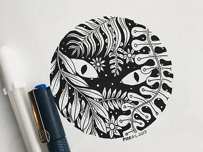 👀 moleskine nature plants eyes cat inktober2017 inktober ink illustration