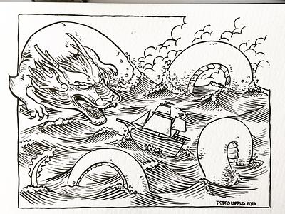 Sea Dragon handmade sketchbook moleskine ship sea dragon brush ink illustration
