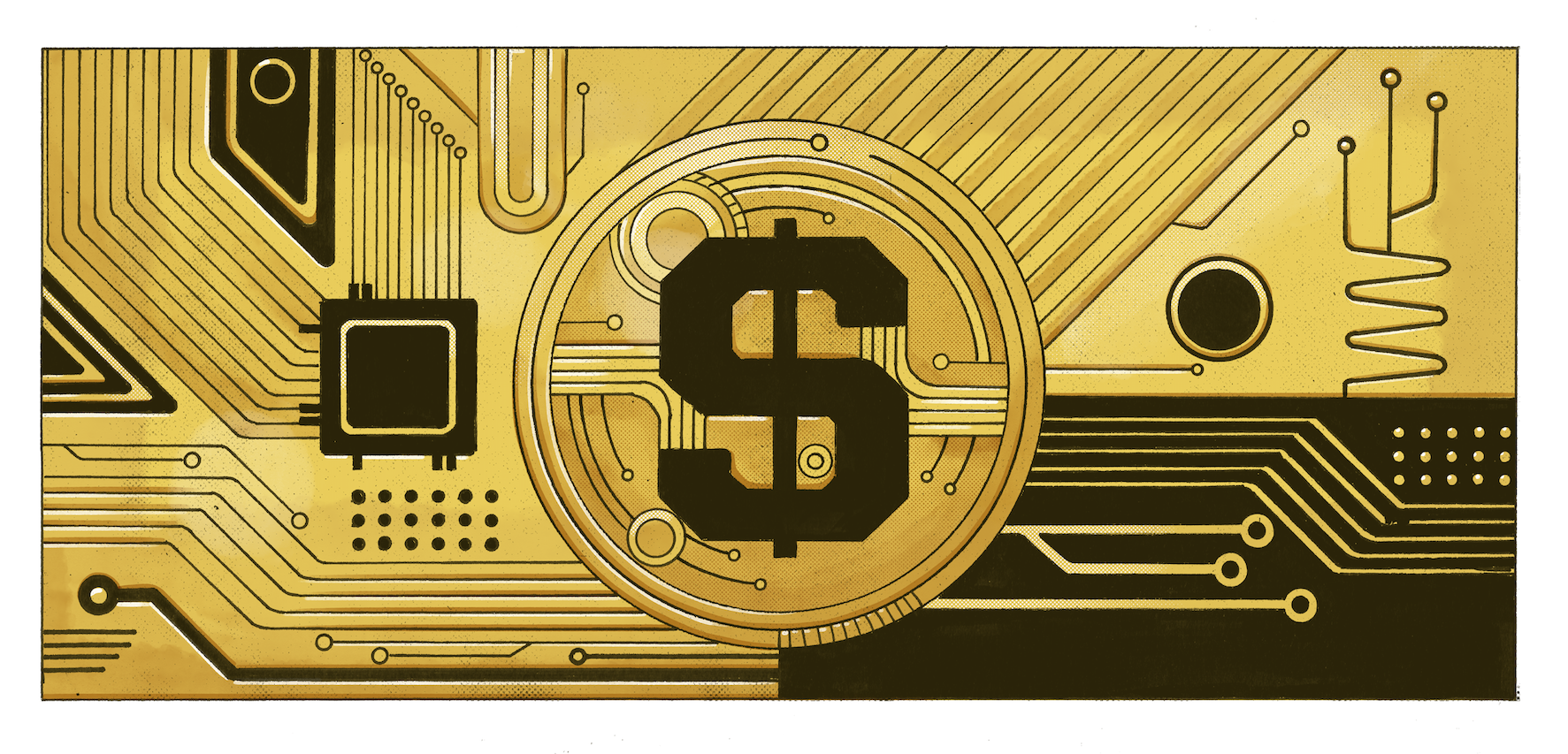 Bitcoins business money currency cryptocurrency bitcoin ink illustration