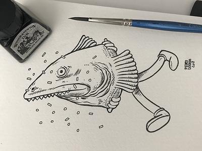 Carnival moleskine fish doodle sketch sketchbook brush illustration ink