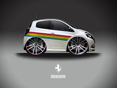 Unicorn unicorn renault clio ferrari car fake parody
