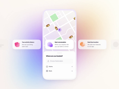 Feeds use case - Taxi App web feeds interaction animation app ux ui product tato mamulashvili design
