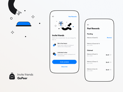 GoPeer - Invite friends design refferals friends invite illustration app ux ui product tato mamulashvili