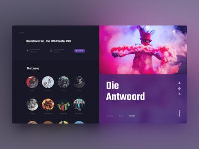 Die Antwoord Event mamulashvili tato product app typography design event web antwoord die music ux ui