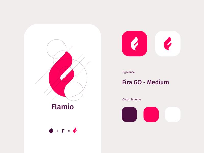 Flamio identity icon product design tato mamulashvili grid logo monogram flamio f flame branding logo