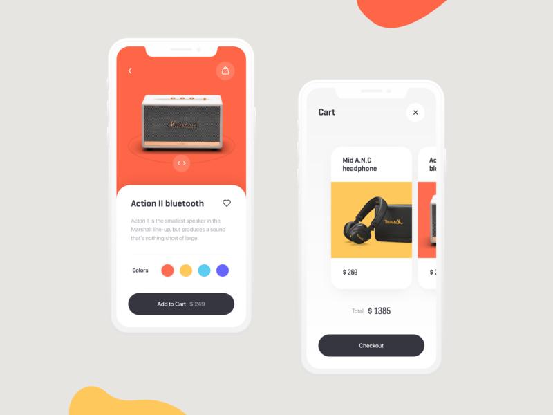 E-commerce App UI speaker headphone marshall online shopping shop e-commerce ecommerce web ux ui product app tato mamulashvili design
