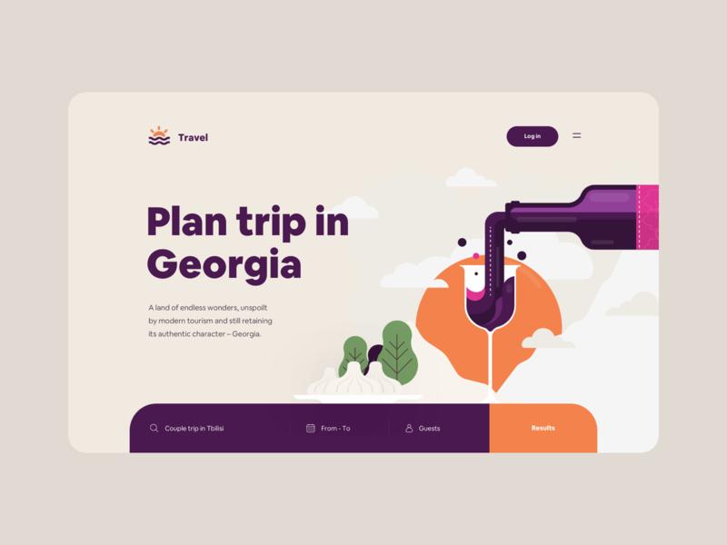 Spend your summer in Georgia 🇬🇪 spendyoursummeringeorgia vector illustration web ux ui product app tato mamulashvili design
