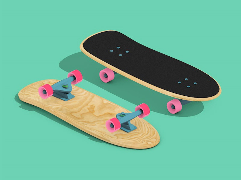 Evolution of skateboard WIP 1 skate board modelisation 3d cruiser wip
