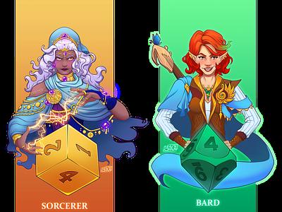 DnD Female Sorcerer and Bard sorcerer bard dnd illustration character design
