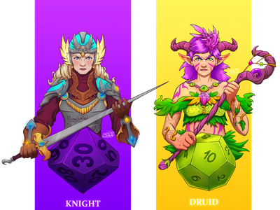 DnD Female Knight and Druid knight druid dnd illustration character design