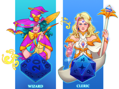 DnD Female Wizard and Cleric wizard cleric dnd illustration character design