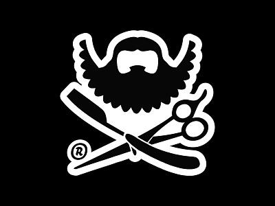 Le BARBU logo logotype barbershop beard barbe barbu le barbu razor scissors black and white lebarbu