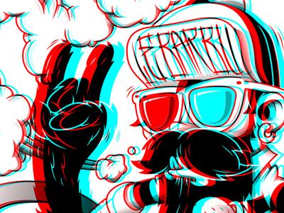 Le Barbu - Rock It Every Day! anaglyph 3d sk8 barbe unusual rockiteveryday rock beard skate barbershop le barbu lebarbu