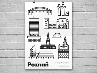 Poznan - poster city illustration style line design icon vector poster