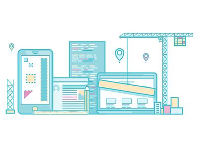 Web development icon flat art line development design web illustration icon