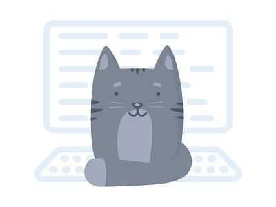Cat on keyboard dtp design kitten grey flat icon t-shirt print vector illustration keyboard cat