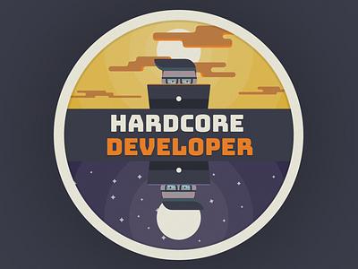 Hardcore Developer Illustration moon sunset face flat developer development design print t-shirt illustration